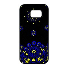 Blue Yellow Bandana Samsung Galaxy S7 Edge Black Seamless Case by dressshop