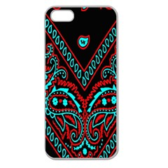 Blue And Red Bandana Apple Seamless Iphone 5 Case (clear) by dressshop