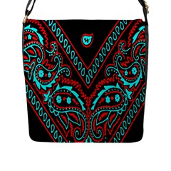 Blue And Red Bandana Flap Closure Messenger Bag (l) by dressshop