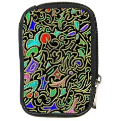 Swirl Retro Abstract Doodle Compact Camera Leather Case by dressshop