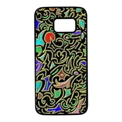 Swirl Retro Abstract Doodle Samsung Galaxy S7 Black Seamless Case by dressshop