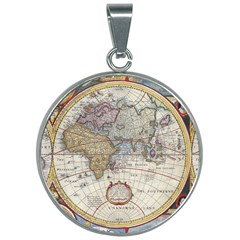 Antique Map 30mm Round Necklace by Wanni