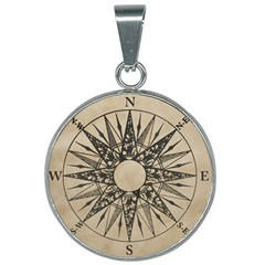 Compass Old 25mm Round Necklace by Wanni
