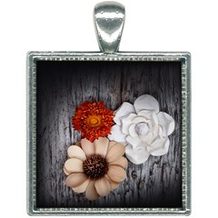 Wood Dry Flowers Square Necklace by Wanni