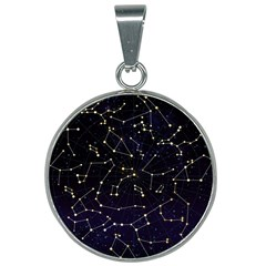 Universe Sky Map Constellations 25mm Round Necklace by Wanni