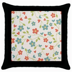 Flowers Pattern Throw Pillow Case (black) by Hansue