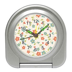 Flowers Pattern Travel Alarm Clock by Hansue