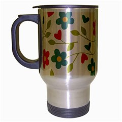 Flowers Pattern Travel Mug (silver Gray) by Hansue