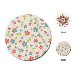 Flowers Pattern Playing Cards (round) by Hansue