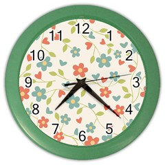 Flowers Pattern Color Wall Clock by Hansue