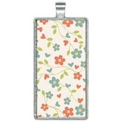 Flowers Pattern Rectangle Necklace by Hansue