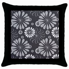 Floral Pattern Throw Pillow Case (black) by Hansue