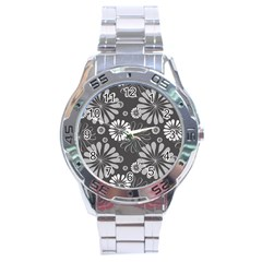 Floral Pattern Stainless Steel Analogue Watch by Hansue