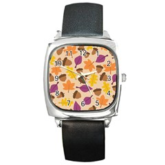 Acorn Pattern Square Metal Watch by Hansue