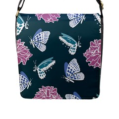 Butterfly  Flap Closure Messenger Bag (l) by Hansue