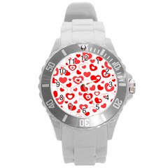 Hearts Round Plastic Sport Watch (l) by Hansue