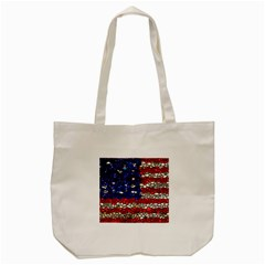 American Flag Mosaic Tote Bag (cream) by bloomingvinedesign
