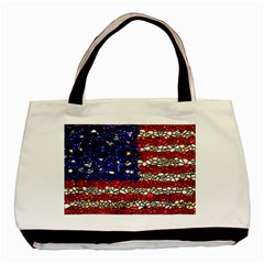American Flag Mosaic Basic Tote Bag (two Sides) by bloomingvinedesign