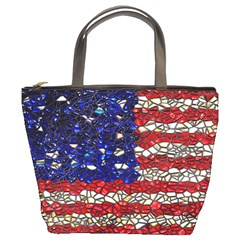 American Flag Mosaic Bucket Bag by bloomingvinedesign