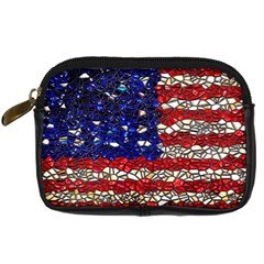 American Flag Mosaic Digital Camera Leather Case by bloomingvinedesign