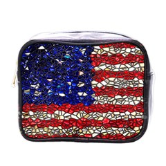 American Flag Mosaic Mini Toiletries Bag (one Side) by bloomingvinedesign