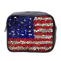 American Flag Mosaic Mini Toiletries Bag (two Sides) by bloomingvinedesign
