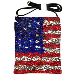 American Flag Mosaic Shoulder Sling Bag by bloomingvinedesign
