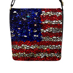 American Flag Mosaic Flap Closure Messenger Bag (l) by bloomingvinedesign