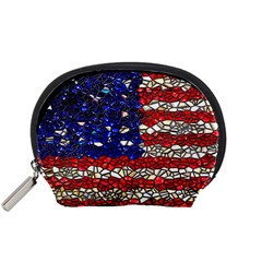 American Flag Mosaic Accessory Pouch (small) by bloomingvinedesign