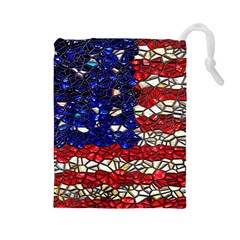 American Flag Mosaic Drawstring Pouch (large) by bloomingvinedesign