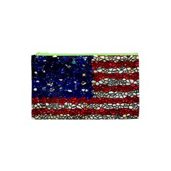 American Flag Mosaic Cosmetic Bag (xs) by bloomingvinedesign