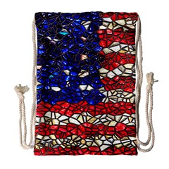 American Flag Mosaic Drawstring Bag (large) by bloomingvinedesign