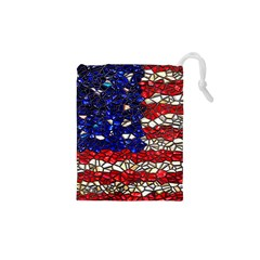 American Flag Mosaic Drawstring Pouch (xs) by bloomingvinedesign