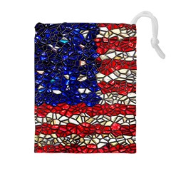 American Flag Mosaic Drawstring Pouch (xl) by bloomingvinedesign