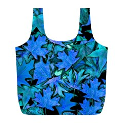 Blue Fall Leaves Full Print Recycle Bag (l) by bloomingvinedesign