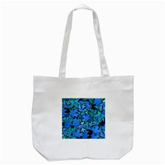 Blue Fall Leaves Tote Bag (white) by bloomingvinedesign