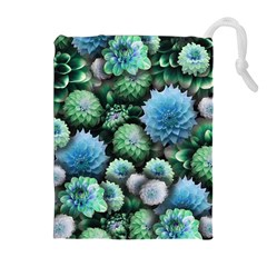 Blue Green Dahlia Collage Drawstring Pouch (xl) by bloomingvinedesign