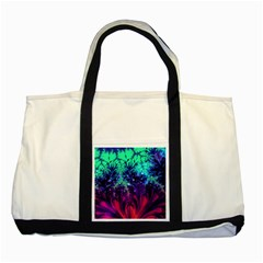 Bluegreen And Pink Fractal Two Tone Tote Bag by bloomingvinedesign