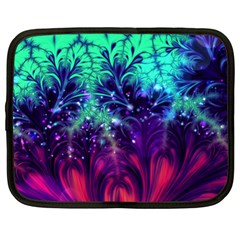 Bluegreen And Pink Fractal Netbook Case (xl) by bloomingvinedesign