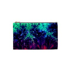 Bluegreen And Pink Fractal Cosmetic Bag (small) by bloomingvinedesign