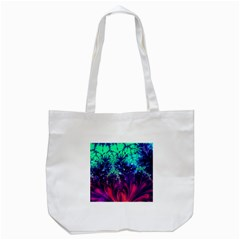 Bluegreen And Pink Fractal Tote Bag (white) by bloomingvinedesign