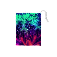 Bluegreen And Pink Fractal Drawstring Pouch (small) by bloomingvinedesign