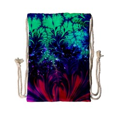 Bluegreen And Pink Fractal Drawstring Bag (small) by bloomingvinedesign