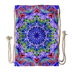 Blue Red White Kaleidoscope 121 Drawstring Bag (large) by bloomingvinedesign