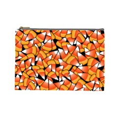 Candy Corn Pattern Cosmetic Bag (large) by bloomingvinedesign