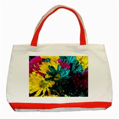 Colorful Daisies With Line Classic Tote Bag (red) by bloomingvinedesign