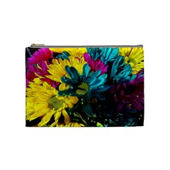 Colorful Daisies With Line Cosmetic Bag (medium) by bloomingvinedesign