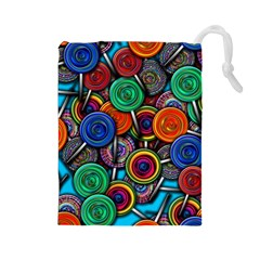 Colorful Lollipops Drawstring Pouch (large) by bloomingvinedesign