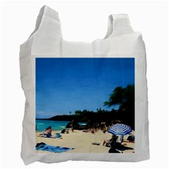 Day At The Beach With Umbrella Recycle Bag (one Side) by bloomingvinedesign
