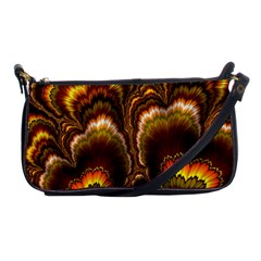 Earthtone Feather Fractal Shoulder Clutch Bag by bloomingvinedesign